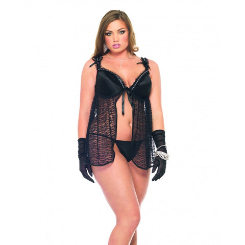 Plus Size Lace Babydoll with Faux Rhinestones