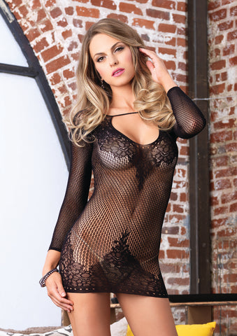 Black Floral Lace and Net Mini Dress