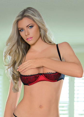 Black and Red Eyelash Lace and Satin Demi Bra