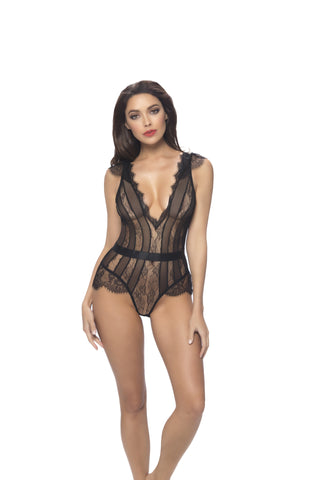 Black Mesh and Lace Striped Body Teddy