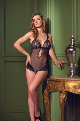 Black Mesh Teddy with Gemstone Detail