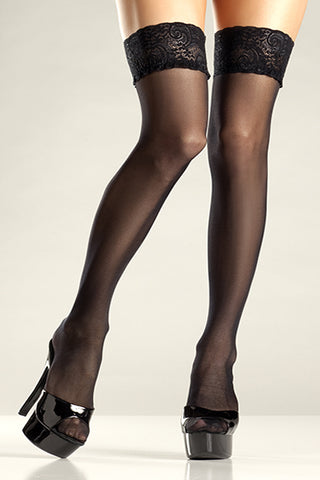Black Sheer Lace Top Stay Up Thigh Hi Stockings