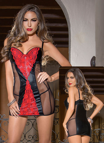 Lace and Mesh Festish Chemise