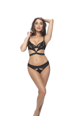 Sheer Layered Satin Bra and Panty Set