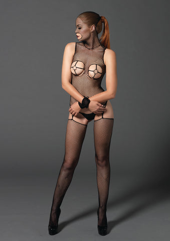 Black Fishnet Masked Bodystocking with Wrist Restraints