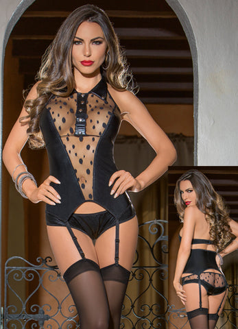Polka Dot Collared Bustier with Hose