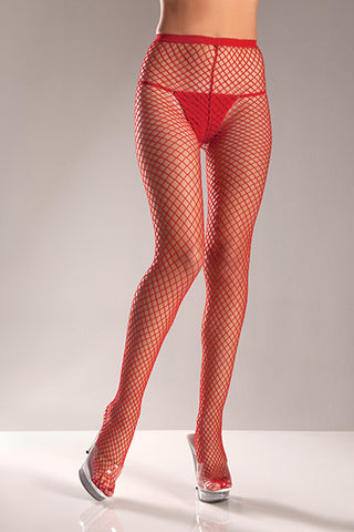 Plus Size Red Industrial Net Pantyhose