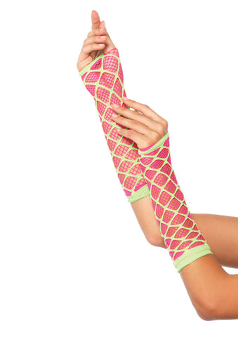 Pink and Lime Green Dual Net Neon Arm Warmers