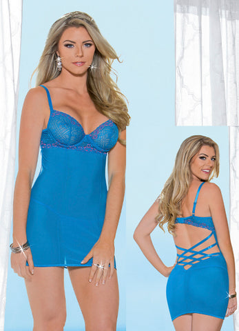 Ocean Blue and Pink Lace and Mesh Chemise