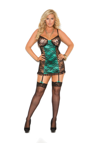 Plus Size Black and Emerald Chemise