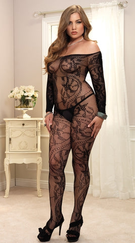 Plus Size Black Spiral Lace Bodystocking