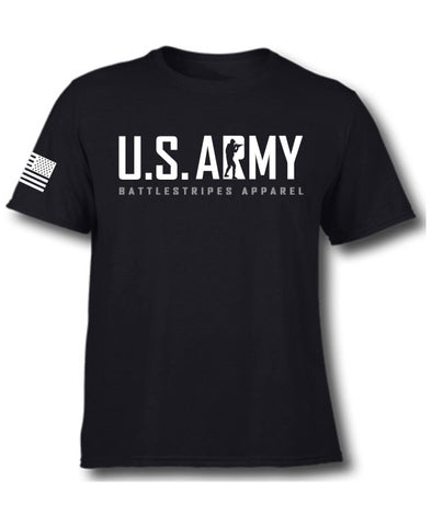 Black US ARMY BattleStripes Apparel T-Shirt