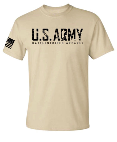 Tan US ARMY BattleStripes Apparel T-Shirt