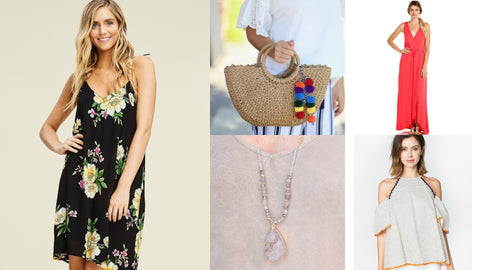 Top 5 Under $50 from Southern Sunday, the boutique that gives back.  Affordable and stylish ladies clothing and accessories at great prices.  Tops, Dress, Jewelry and Handbags in all the current fashion!