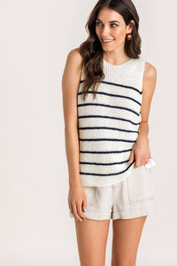 Navy and White Striped Sweater Tank from Southern Sunday, the boutique that gives back.  Southern Sunday offers the latest in ladies fashion and accessories at affordable prices.  Southern Sunday is located in Midway, KY, outside of Lexington, Kentucky.  Shop Southern Sunday online or in store at their boutique