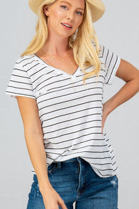 Black and white stripe V neck  t shirt from Southern Sunday, the boutique that gives back.  Southern Sunday offers the latest in ladies fashion and accessories at affordable prices.  Southern Sunday also offers a selection of gifts and home decor items.  Southern Sunday is located in Midway, KY, outside of Lexington, Kentucky.  Shop Southern Sunday online or in store at their boutique. Free shipping on orders over $75