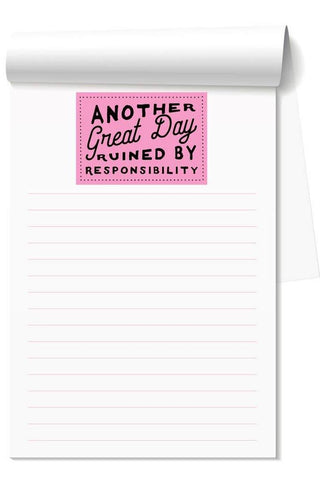 Another Great Day Ruined Note Pad from Southern Sunday, the boutique that gives back. Southern Sunday offers the latest in ladies fashion and accessories at affordable prices. Southern Sunday is located in Midway, KY, outside of Lexington, Kentucky. Shop Southern Sunday online or in store at their boutique.