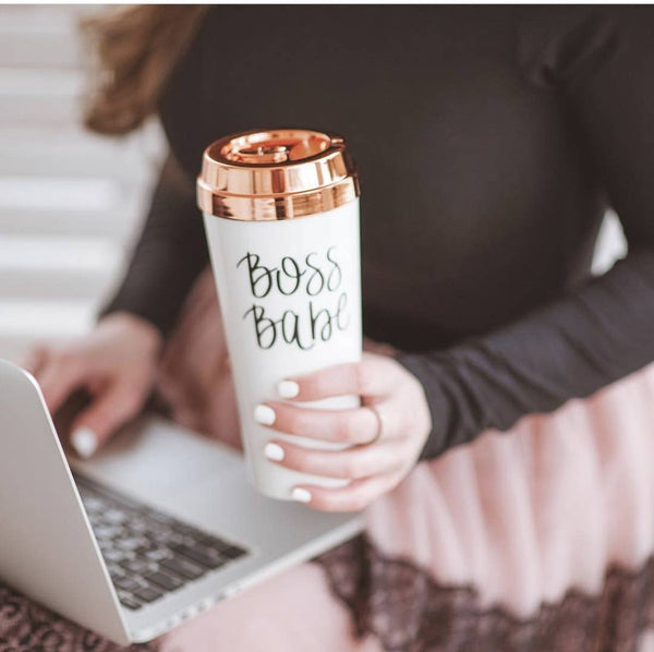 Boss Babe or Mama Needs Coffee Rose Gold Travel Mug from Southern Sunday, the boutique that gives back.  Southern Sunday offers the latest in ladies fashion and accessories, as well as home and gift items, at affordable prices.  Southern Sunday also offers a selection of gifts and home decor items.  Southern Sunday is located in Midway, KY, outside of Lexington, Kentucky.  Shop Southern Sunday online or in store at their boutique.