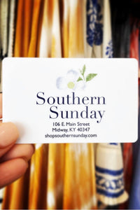 Gift Card from Southern Sunday, the boutique that gives back. Southern Sunday offers the latest in ladies fashion and accessories at affordable prices. Southern Sunday also offers a selection of gifts and home decor items. Southern Sunday is located in Midway, KY, outside of Lexington, Kentucky. Shop Southern Sunday online or in store at their boutique.