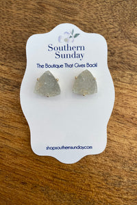 Triangle Clear Druzy Stone Post Earring from Southern Sunday, the boutique that gives back.  Southern Sunday offers the latest in ladies fashion and accessories at affordable prices.  Southern Sunday also offers a selection of gifts and home decor items.  Southern Sunday is located in Midway, KY, outside of Lexington, Kentucky.  Shop Southern Sunday online or in store at their boutique. Free shipping on orders over $75