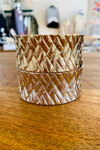 Gold or Silver Woven Hinged Cuff Bracelet from Southern Sunday, the boutique that gives back.  Southern Sunday offers the latest in ladies fashion and accessories at affordable prices.  Southern Sunday also offers a selection of gifts and home decor items.  Southern Sunday is located in Midway, KY, outside of Lexington, Kentucky.  Shop Southern Sunday online or in store at their boutique. Free shipping on orders over $75