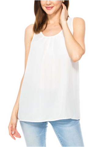White Pleated Tank Top from Southern Sunday, the boutique that gives back! Southern Sunday offers the latest in ladies clothing and accessories at affordable prices.  At Southern Sunday you can find the most current styles of blouses, dresses, handbags, jewelry and more!  Southern Sunday is located in Midway, KY, outside of Lexington, KY.  Shop Southern Sunday online or in store.