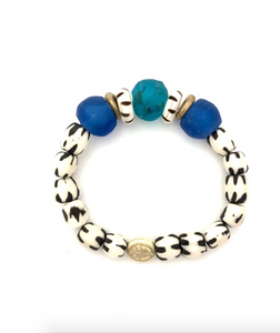 Zebra and Blue Bead Bracelet from Southern Sunday, the boutique that gives back.  Southern Sunday offers the latest in ladies fashion and accessories at affordable prices.  Southern Sunday also offers a selection of gifts and home decor items.  Southern Sunday is located in Midway, KY, outside of Lexington, Kentucky.  Shop Southern Sunday online or in store at their boutique. Free shipping on orders over $75