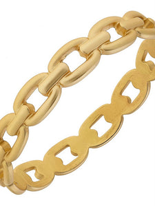Matte Gold Frozen Chain Bangle Bracelet from Southern Sunday, the boutique that gives back.  Southern Sunday offers the latest in ladies fashion and accessories at affordable prices.  Southern Sunday also offers a selection of gifts and home decor items.  Southern Sunday is located in Midway, KY, outside of Lexington, Kentucky.  Shop Southern Sunday online or in store at their boutique. Free shipping on orders over $75