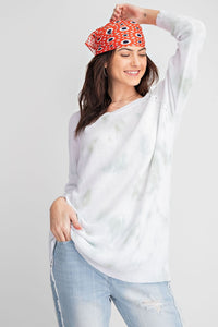 Faded Mint Tie Dyed Sweater from Southern Sunday, the boutique that gives back.  Southern Sunday offers the latest in ladies fashion and accessories at affordable prices.  Southern Sunday also offers a selection of gifts and home decor items.  Southern Sunday is located in Midway, KY, outside of Lexington, Kentucky.  Shop Southern Sunday online or in store at their boutique.