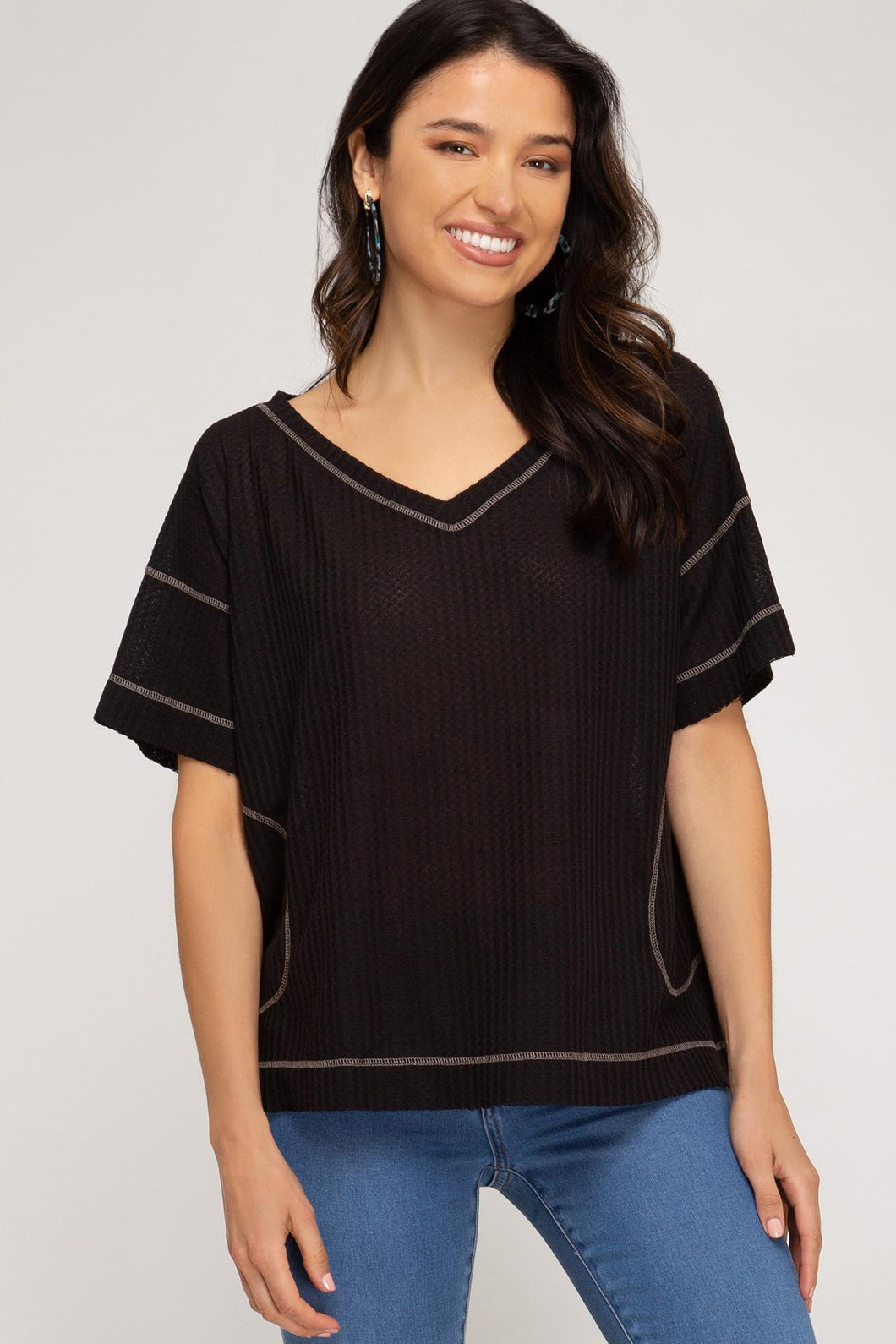 Emerson Thermal Knit Top Black