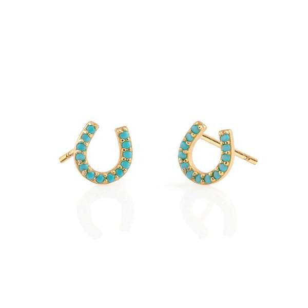 The Kris Horseshoe Turquoise Studs