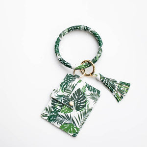 Wallet & Keyring Combo - Palm Leaf