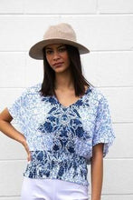 Load image into Gallery viewer, Catherine Blue V-Neck with Smocking