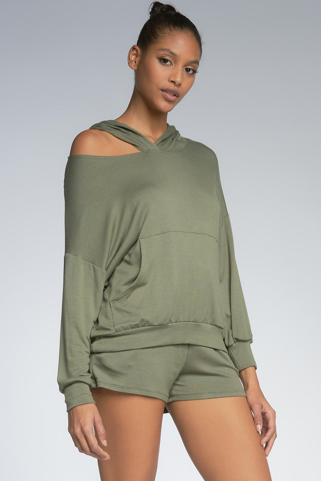 One Shoulder Top in Olive Green with Hood