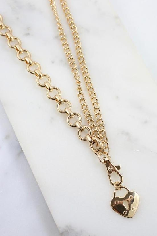 Lange Link Gold Necklace with Heart Charm