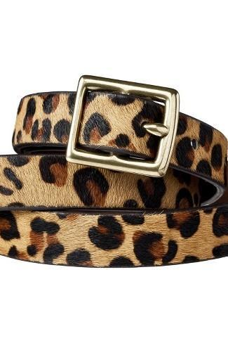 Leopard Print Calf Hair Belt Metal Buckle
