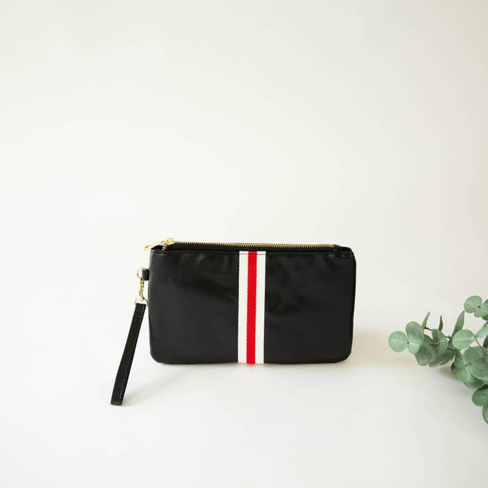 Preppy Red & White Stripe Zipper Clutch
