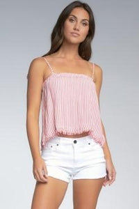 Vanessa Red & White Stripe Top with Spaghetti Straps