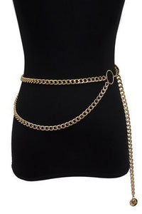 Trendy Simple Double Layered Waist Chain Gold
