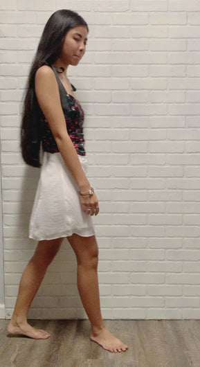 white mini draping skirt