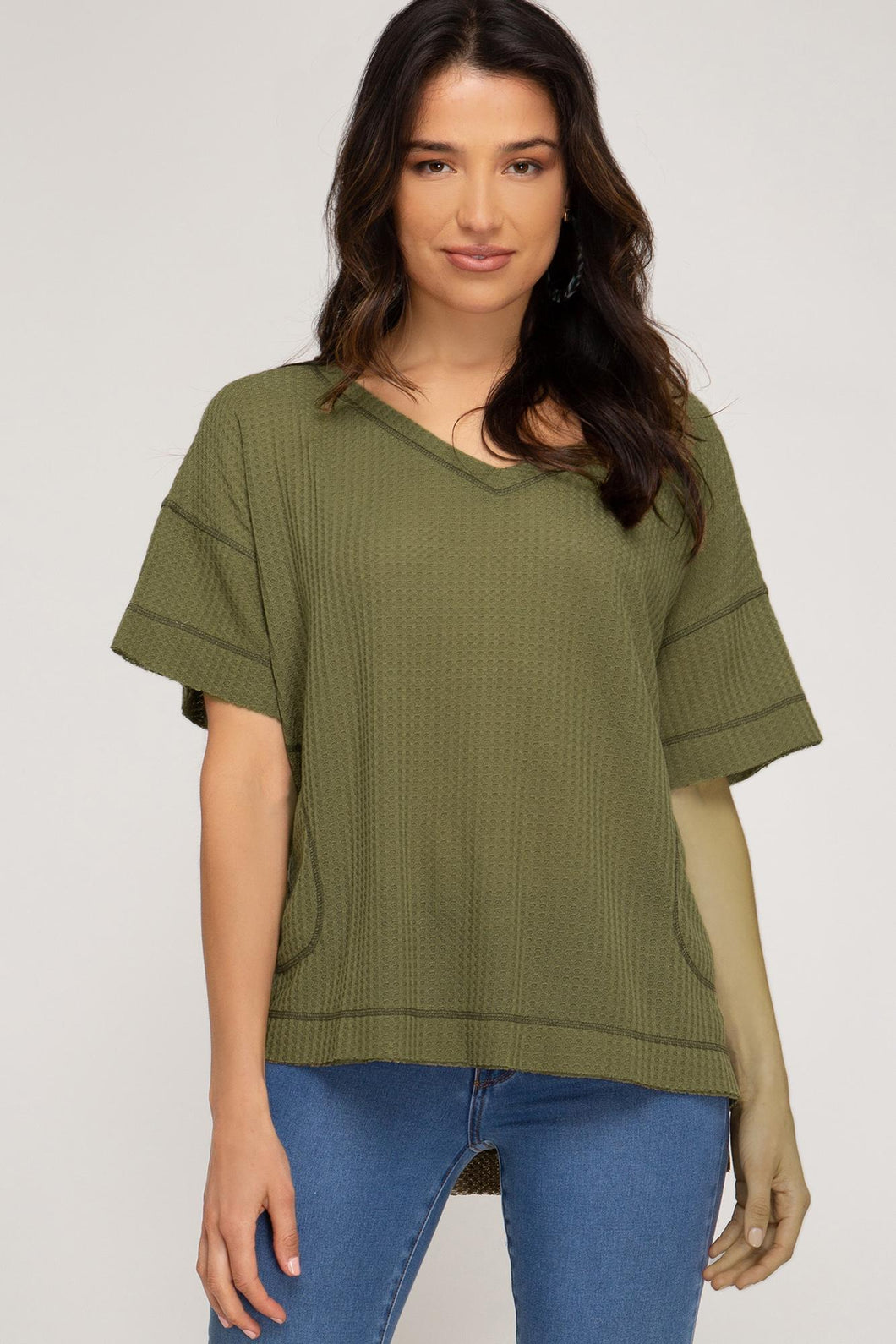 Emerson Thermal Knit Top Olive