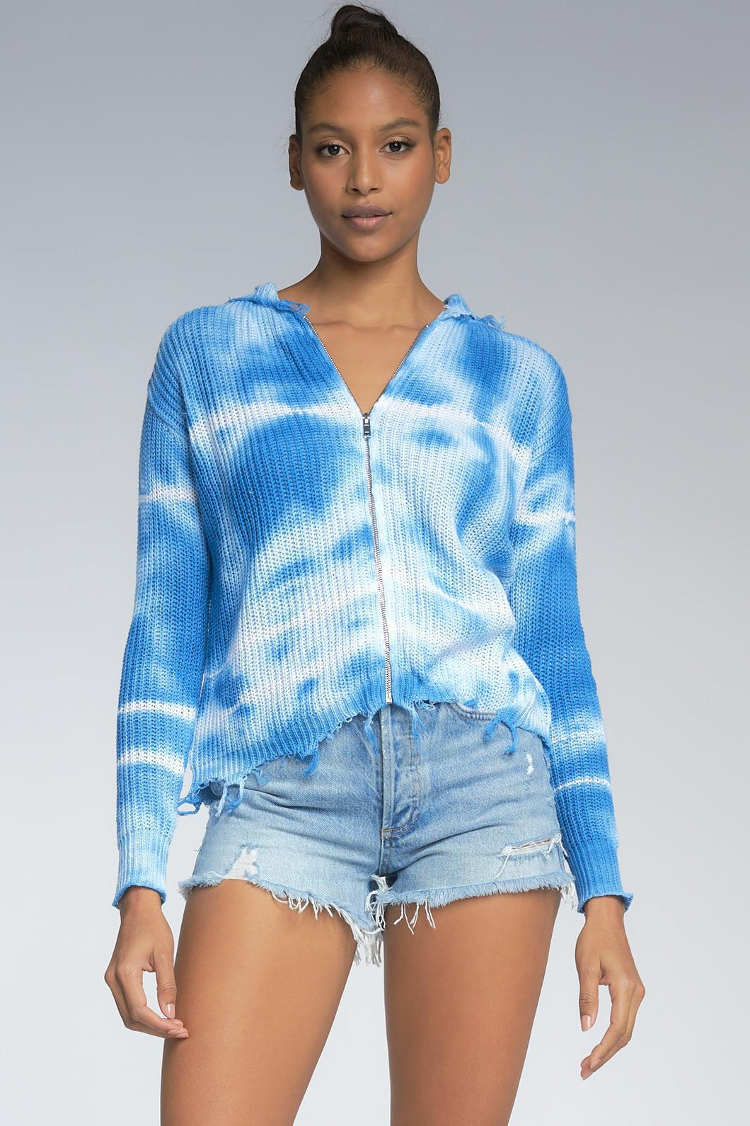 Blue and White Tie Dye Zip Front Hoodie