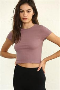 Dani Seamless Ribbed Top - Dusty Lilac