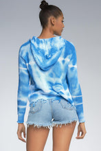 Load image into Gallery viewer, Blue and White Tie Dye Zip Front Hoodie