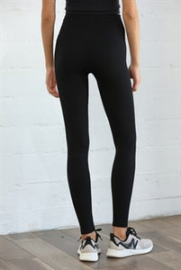 The Ribbed High-Waisted Leggings - Black