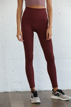 Load image into Gallery viewer, The Ribbed High-Waisted Leggings - Burgundy