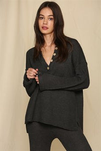 Rowan Charcoal Oversized Button Down Sweater