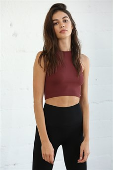 Maci Sleeveless Crew Neck Crop Top - Burgundy