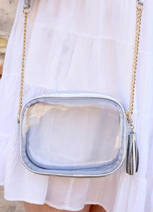 Sampson Snake Trimmed Rectangle Clear Crossbody