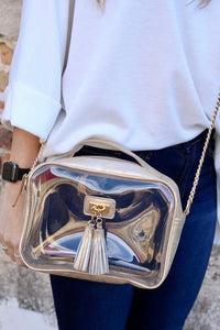 Tinzley Champagne Pop Clear Bag with Tassels